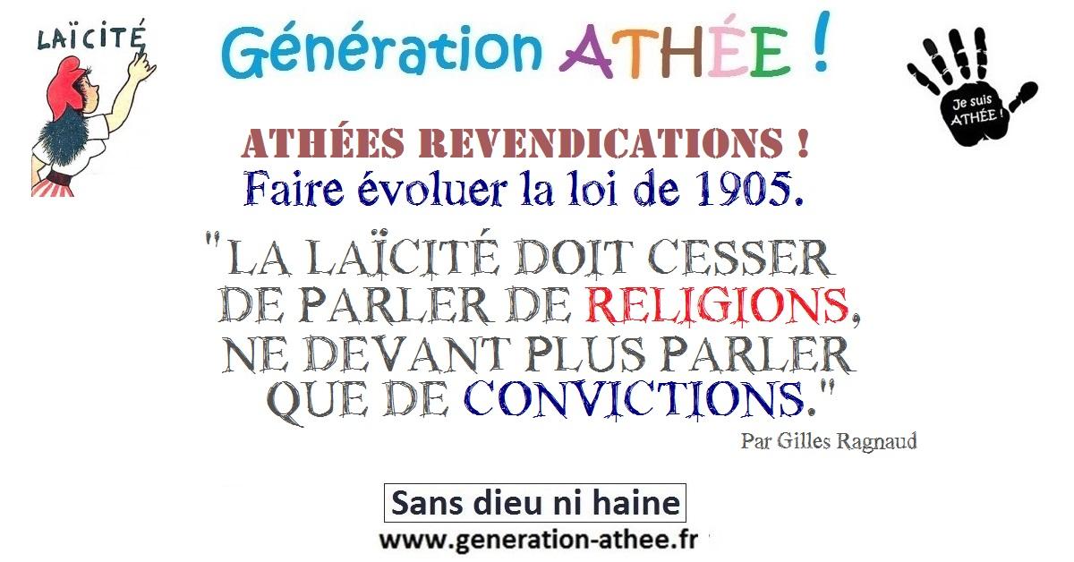 """Exceptionnel QUE LA LAÏCITÉ NE PARLE PLUS QUE DE """"CONVICTIONS"""". - Génération Athée PM04"""